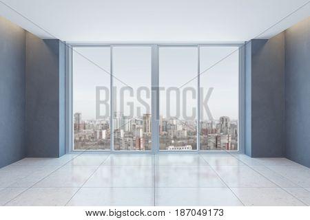 empty office room with window, 3d rendering
