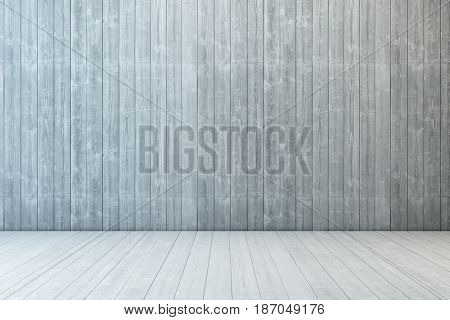empty room wood with wall and wooden floor, 3d rendering