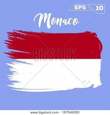Monaco flag brush strokes painted vector illustration