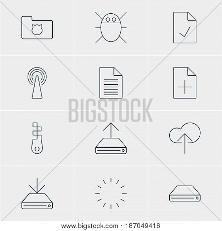 Vector Illustration Of 12 Internet Icons. Editable Pack Of Router, Fastener, Computer Virus And Other Elements.