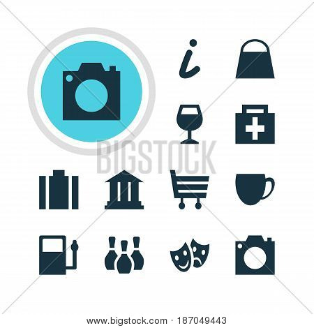 Vector Illustration Of 12 Location Icons. Editable Pack Of Skittles, Photo Device, Wineglass And Other Elements.