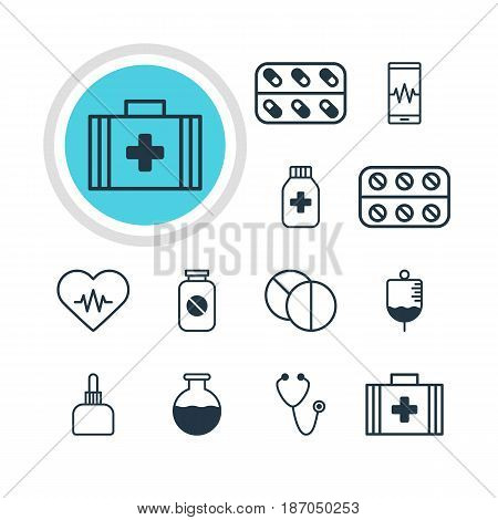 Vector Illustration Of 12 Health Icons. Editable Pack Of Medicine Jar, Heart Rhythm, Antibody And Other Elements.