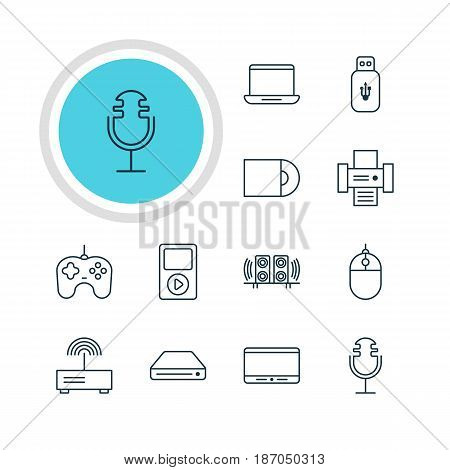 Vector Illustration Of 12 Accessory Icons. Editable Pack Of Joypad, Computer, Monitor And Other Elements.