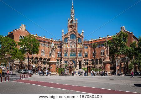 BARCELONA, SPAIN - MAY 2017: Building of Old Hospital de Sant Paul in Barcelona, Spain