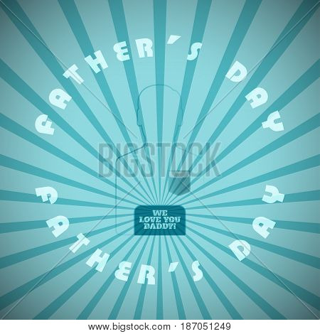 Happy Father's Day vector poster with turquoise man silhouette circle of text with on the background with rays.