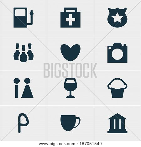 Vector Illustration Of 12 Travel Icons. Editable Pack Of Drugstore, Heart, Refueling And Other Elements.