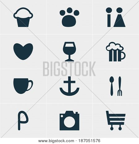 Vector Illustration Of 12 Location Icons. Editable Pack Of Anchor, Cafe, Pet Shop And Other Elements.
