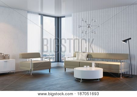 modern design of living room, 3d rendering