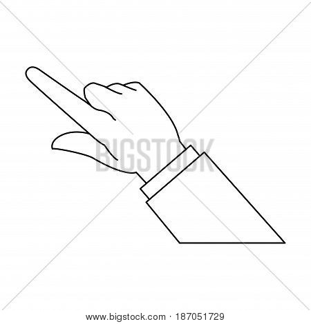hand business man finger point gesture icon vector illustration