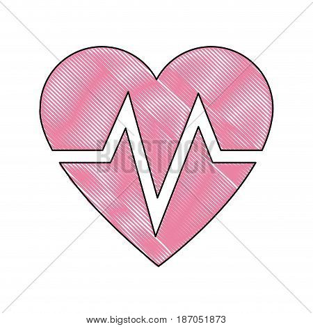 drawing heart beat health care medical vector illustration
