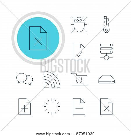 Vector Illustration Of 12 Web Icons. Editable Pack Of Hard Drive Disk, Privacy Doc, Checked Note And Other Elements.