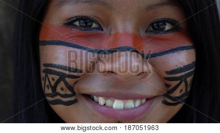 Native Brazilian Girl in a Tupi Guarani Tribe, Brazil