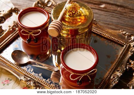 Curd dairy dessert with honey in golden tray