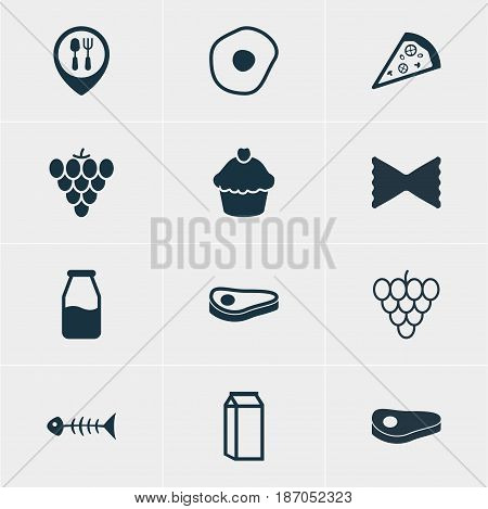 Vector Illustration Of 12 Meal Icons. Editable Pack Of Sirloin, Muscat, Restaurant And Other Elements.