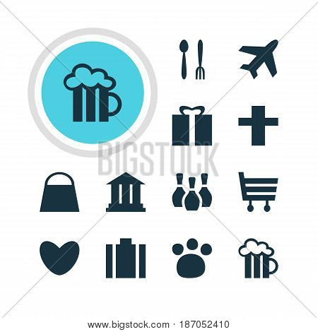 Vector Illustration Of 12 Location Icons. Editable Pack Of Handbag, University, Cafe Elements.