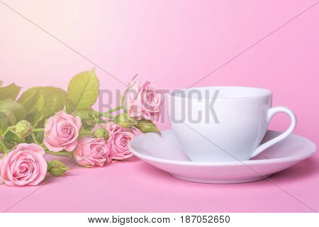 Bouquet of pink roses and a white cup and saucer on a pink background. A cup of tea or coffee, morning sunlight