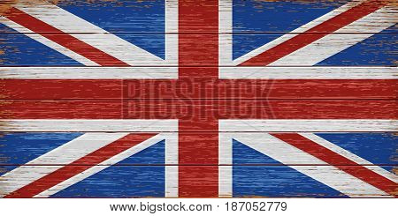 UK flag painted on old wooden planks background. Realistic vector.