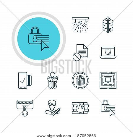 Vector Illustration Of 12 Data Protection Icons. Editable Pack Of Network Protection, Encoder, Data Error And Other Elements.
