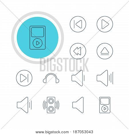 Vector Illustration Of 12 Music Icons. Editable Pack Of Rewind, Mp3, Earphone And Other Elements.