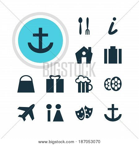 Vector Illustration Of 12 Map Icons. Editable Pack Of Masks, Briefcase, Present And Other Elements.