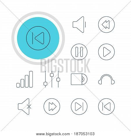 Vector Illustration Of 12 Melody Icons. Editable Pack Of Earphone, Reversing, Preceding And Other Elements.