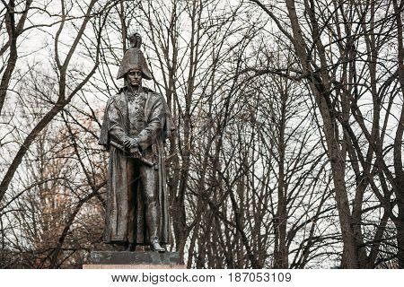 Riga, Latvia - December 13, 2016: Monument To Barclay De Tolly Is A Sculptural Monument To The Russian Military Leader, Military Commander Mikhail Barclay De Tolly, Installed In Riga In 1913.