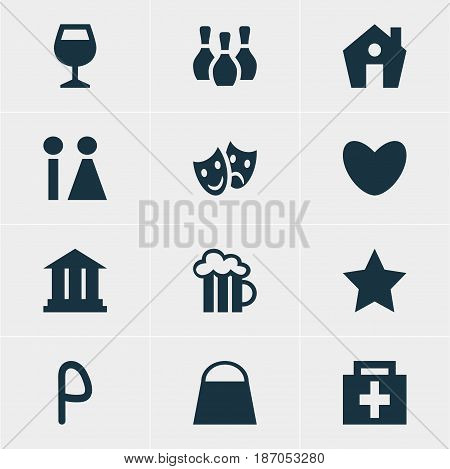 Vector Illustration Of 12 Check-In Icons. Editable Pack Of Drugstore, Home, Wineglass And Other Elements.