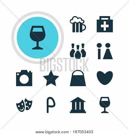 Vector Illustration Of 12 Location Icons. Editable Pack Of Drugstore, Masks, Car Park And Other Elements.
