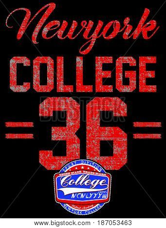 College New York typography t-shirt graphics fashion style new art