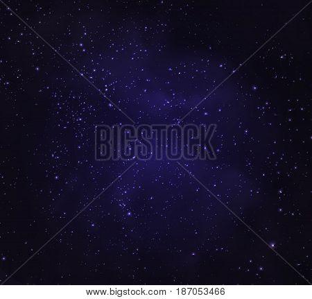 Stars in night sky dark Background illustration vector