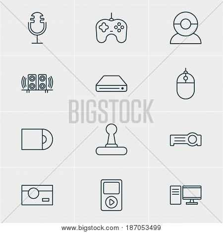 Vector Illustration Of 12 Gadget Icons. Editable Pack Of Game Controller, Video Chat, Media Controller And Other Elements.