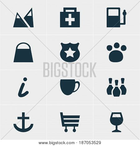 Vector Illustration Of 12 Travel Icons. Editable Pack Of Cop , Coffee Shop, Landscape Elements.
