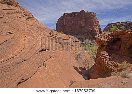 Convoluted Rock in the Desert in Canyon de Chelly in Arizona
