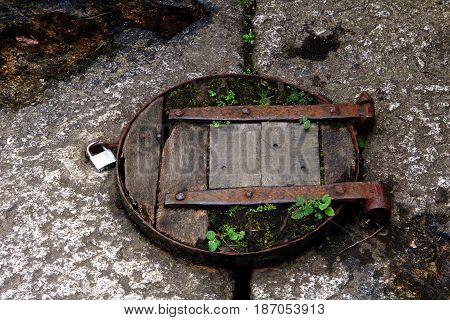 Old Rustic Wooden Trap Door With Padlock