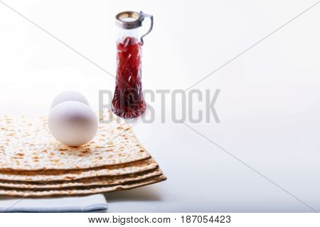 Jewish celebration passover - matza, wine egg. Holiday Symbols