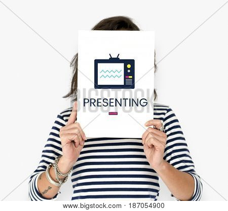 Woman holding banner of TV broadcast media entertainment