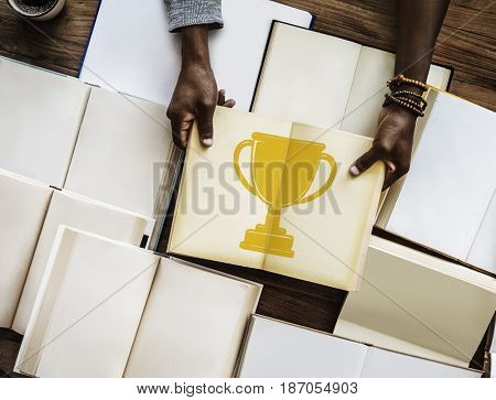Illustration of success trophy competition award