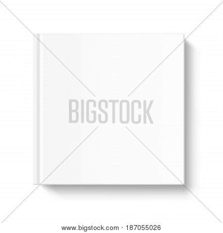 Mock up square book cover on white background. Vector template for your design.