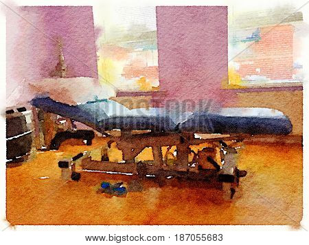 Digital watercolor painting of a chiropractors treatment bed with a pillow in a warm and comfortable room. Space for text.