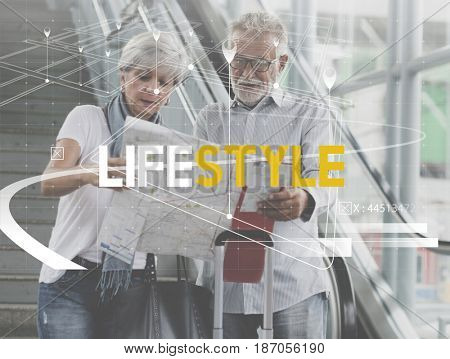 Senior Adult Couple Travel Together Lifestyle Word Graphic