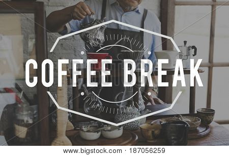 Coffee Break Cafe Lifestyle Word Stamp Banner Graphic