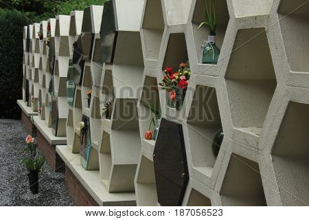 Columbarium at a cemetery public storage of cinerary urns