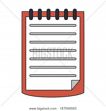 color image cartoon notebook spiral with sheets vector illustration