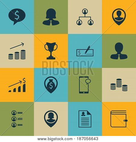 Set Of 16 Human Resources Icons. Includes Successful Investment, Business Deal, Bank Payment And Other Symbols. Beautiful Design Elements.
