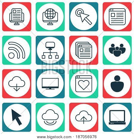 Set Of 16 World Wide Web Icons. Includes Followed Website, Data Synchronize, Save Data And Other Symbols. Beautiful Design Elements.