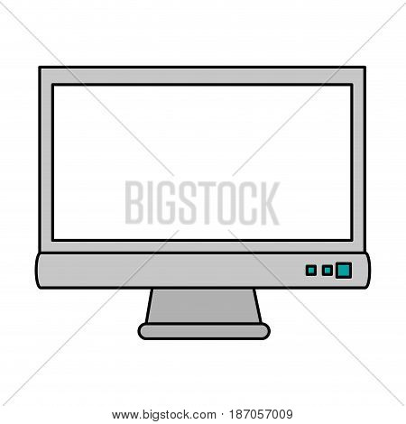 color image cartoon front view computer display with buttons vector illustration