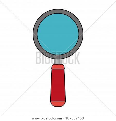 color image cartoon magnifying glass with red handle vector illustration
