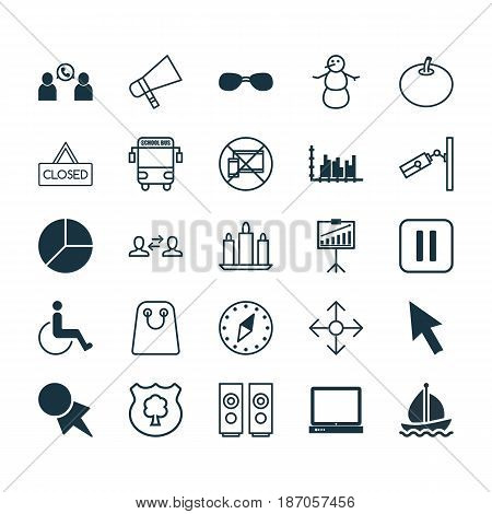 Set Of 25 Universal Editable Icons. Can Be Used For Web, Mobile And App Design. Includes Elements Such As PC, Bullhorn, Business Exchange And More.