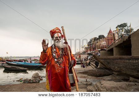 An hindu Sadhu at Ganges River, Varanasi, India.