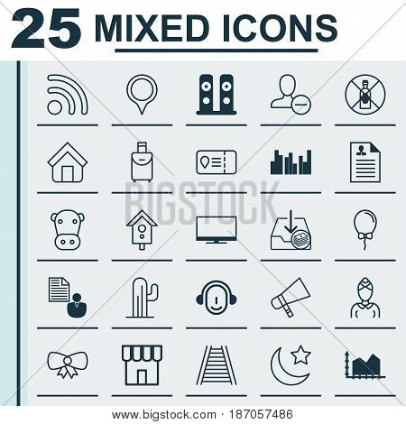 Set Of 25 Universal Editable Icons. Can Be Used For Web, Mobile And App Design. Includes Elements Such As Display, Hostess, Estate And More.